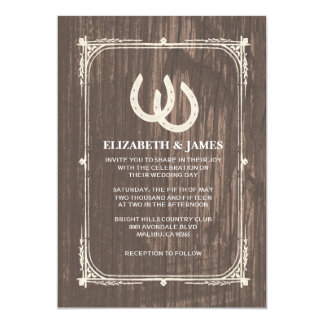 Rustic Horseshoes Wedding Invitations