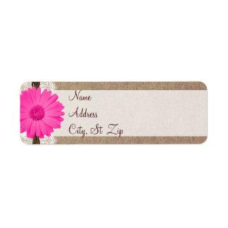 Rustic Hot Pink Gerber Daisy Return Address Labels