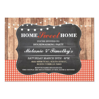 Rustic Housewarming Red Check Chalk Wood Invite