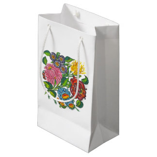 Rustic Hungarian flowers Small Gift Bag
