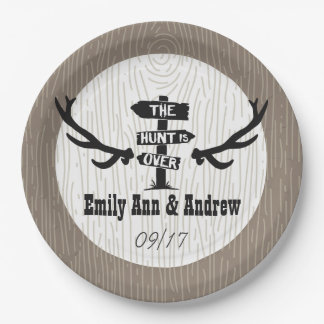 Rustic Hunt is Over Barnwood Paper Plate