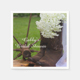 Rustic Hydrangea and Cowboy Boots Bridal Shower Disposable Napkin