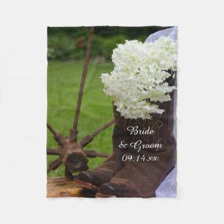 Rustic Hydrangea and Cowboy Boots Western Wedding Fleece Blanket