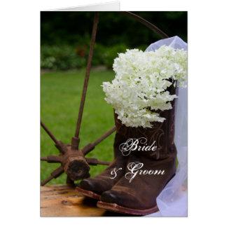 Rustic Hydrangea Cowboy Boots Wedding Invitation