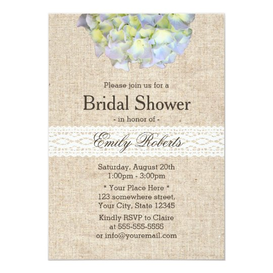 Rustic Hydrangea Lace & Burlap Bridal Shower Card