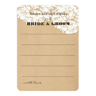 "Rustic Hydrangeas Floral Wedding Advice 5"" X 7"" Invitation Card"