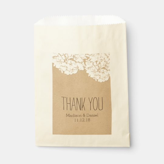 Rustic Hydrangeas Wedding Thank You Favour Bag