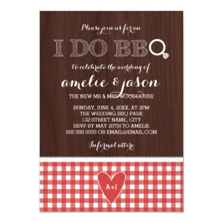 """Rustic I Do BBQ Red Gingham Post Wedding Party 5"""" X 7"""" Invitation Card"""