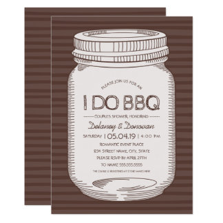 Rustic I Do BBQ Vintage Mason Jar Couples Shower Card