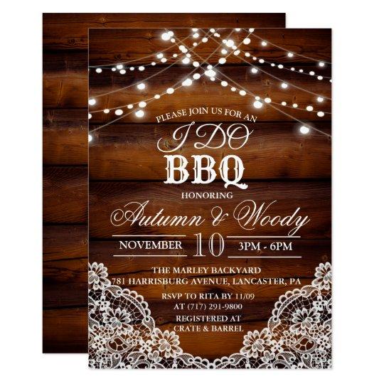 Rustic I DO BBQ Wood Invitation
