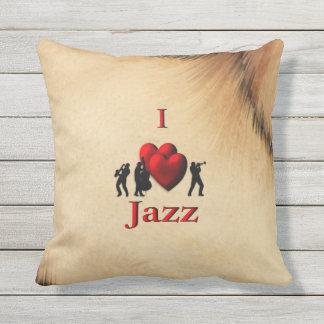 Rustic I Heart Jazz Throw Pillow