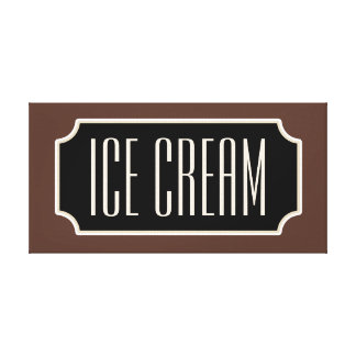 Rustic Ice Cream Sign Canvas Gallery Wrapped Canvas