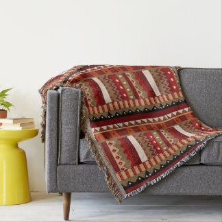 Rustic Ikat Tribal Inspired Throw Blanket