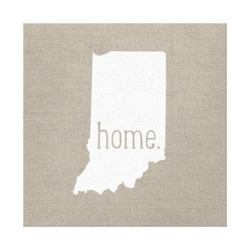 Rustic Indiana Home State Wrapped Canvas Art Canvas Print