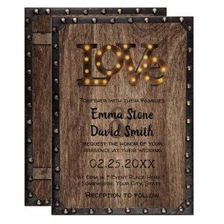 Rustic Industrial Wedding Love Sign Metal & Wood Card