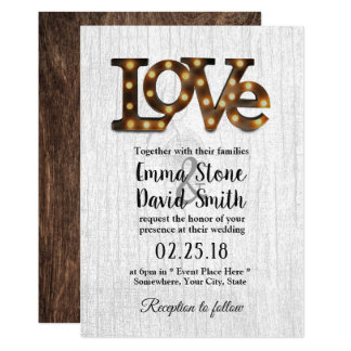 Rustic Industrial Wedding Love Sign White Wooden Card