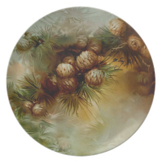 Rustic Inn Melamine Plate Pine Cones