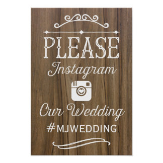 Rustic Instagram Hashtag Sign  | Wedding Decor Poster