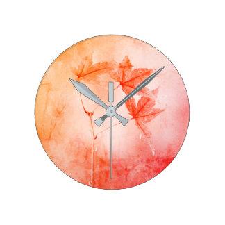 Rustic Japanese Maple Foliage Portrait Round Clock
