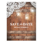 Rustic Jars Lace String Lights Save the Date Postcard