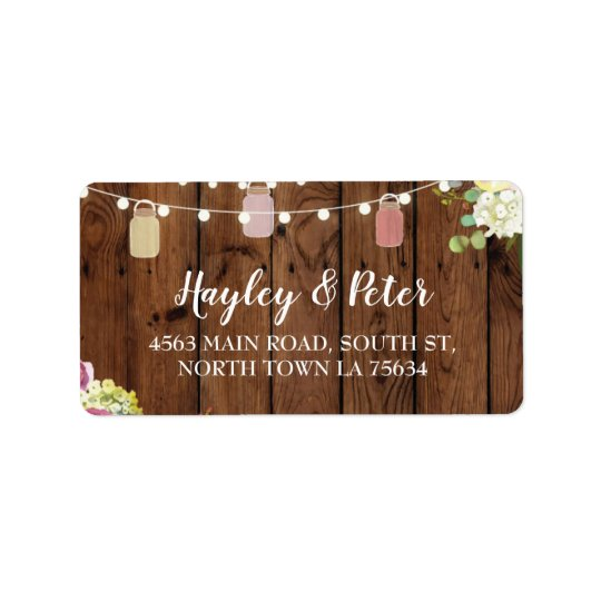 Rustic Jars Wood Address Lights Labels Stickers