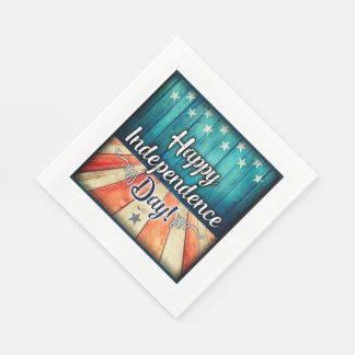 Rustic July 4th Napkins Paper Napkin