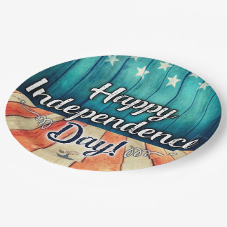 Rustic July 4th Plates 9 Inch Paper Plate