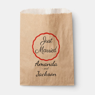 Rustic Just Married Black Wedding Announcement Favour Bag