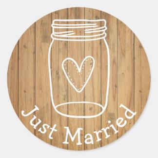 Rustic Just Married Mason Jar Wood Country Wedding Round Sticker
