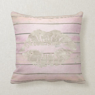 Rustic Kiss Lips Cottage Grungy Wood Pink Throw Pillow