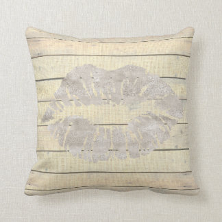 Rustic Kiss Lips Cottage Ivory Wood Grungy Throw Pillow