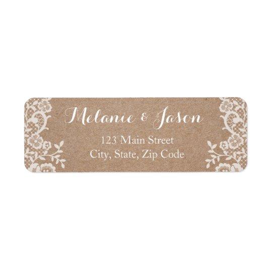 Rustic Kraft and Lace Wedding Return Address Label
