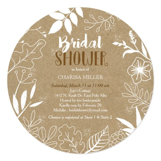 Rustic Kraft Botanical Pattern Bridal Shower Card
