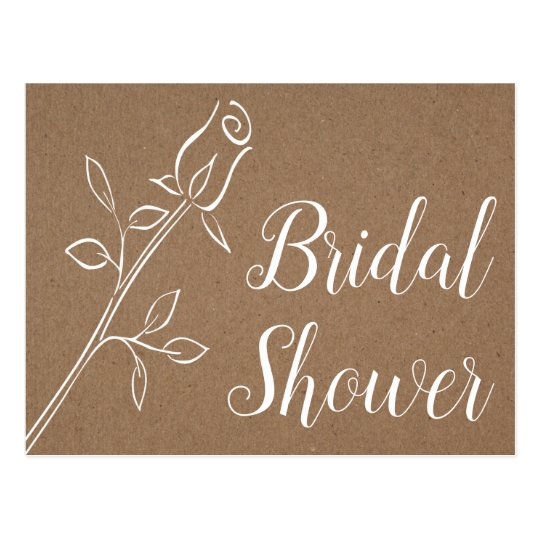 Rustic Kraft Bridal Shower Country Rose Wedding Postcard