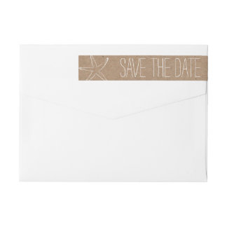 Rustic Kraft Brown Paper Starfish Save The Date Wrap Around Label