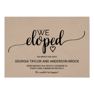 Rustic Kraft Calligraphy Elopement Announcement