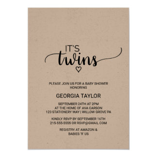 Rustic Kraft Calligraphy Twins Baby Shower Card