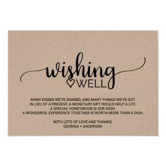 Rustic Kraft Calligraphy Wedding Wishing Well Card