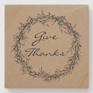 Rustic Kraft Colored Give Thanks Stone Coaster