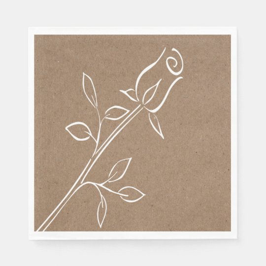 Rustic Kraft Country Rose Flower Brown Wedding Disposable Napkin