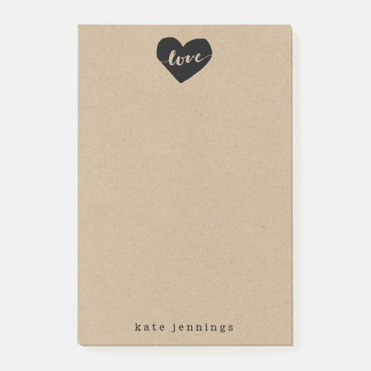 Rustic Kraft Effect Love Heart Silhouette Post-it Notes