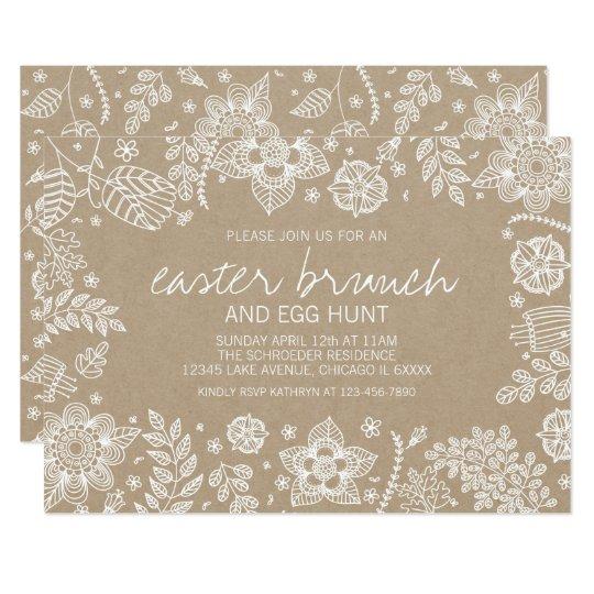 Rustic Kraft Floral Easter Brunch & Egg Hunt Card