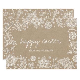 Rustic Kraft Floral Happy Easter Card