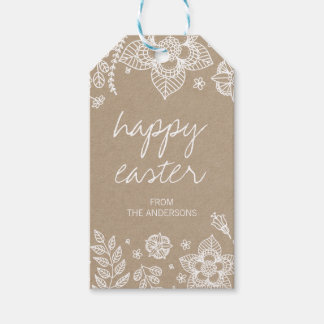Rustic Kraft Floral Happy Easter Gift Tag