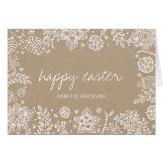 Rustic Kraft Floral Happy Easter Greeting Card