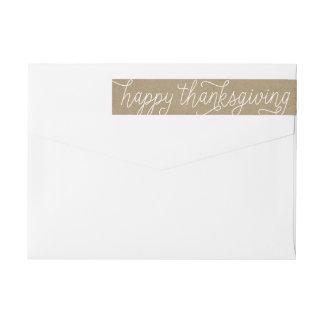 Rustic Kraft Hand Lettering Happy Thanksgiving Wrap Around Label
