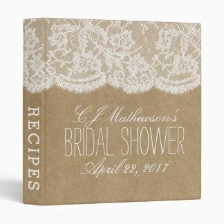 Rustic Kraft & Lace Bridal Shower Recipe 3 Ring Binders