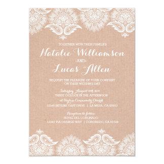 Rustic Kraft Lace Wedding Invitation Invitations