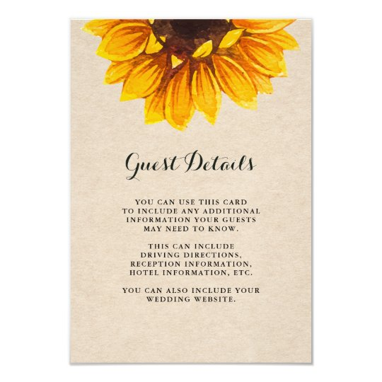 Rustic Kraft Look with Flower Guest Details Card