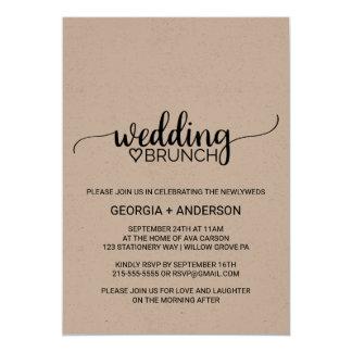 Rustic Kraft Modern Calligraphy Wedding Brunch Card